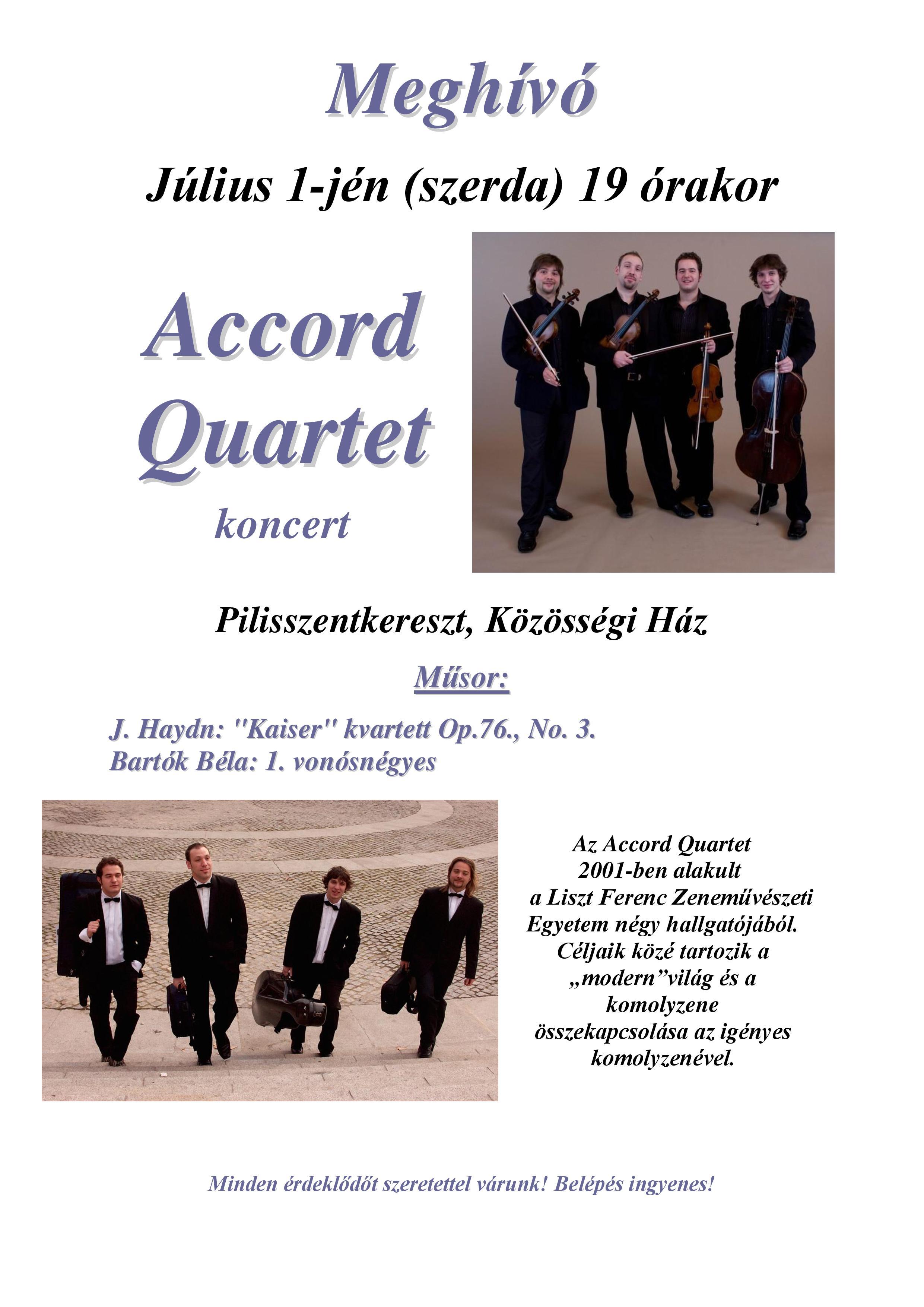 Accord Quartett koncert meghívó