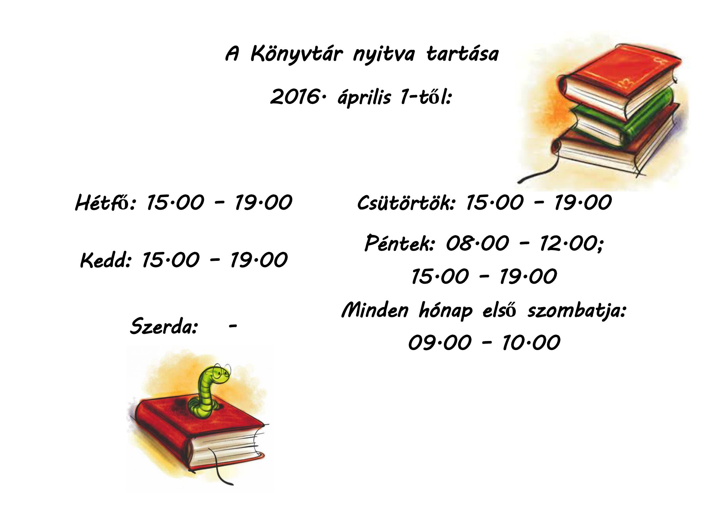könyvtár 2016.04.01-től