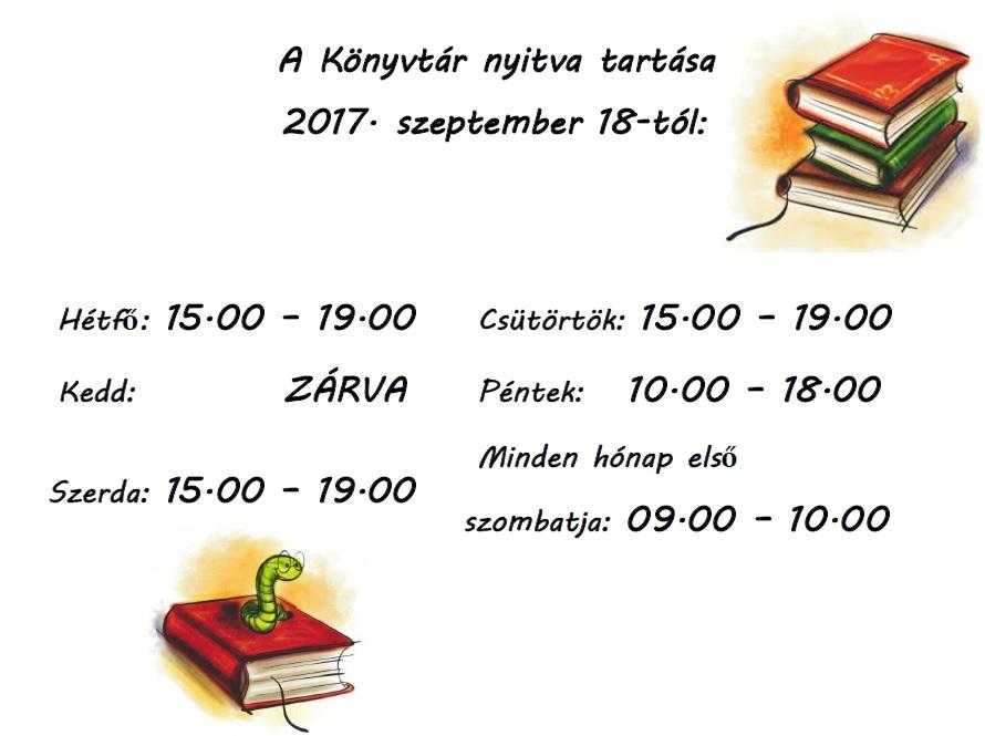 Könyvtár nyitvatartása