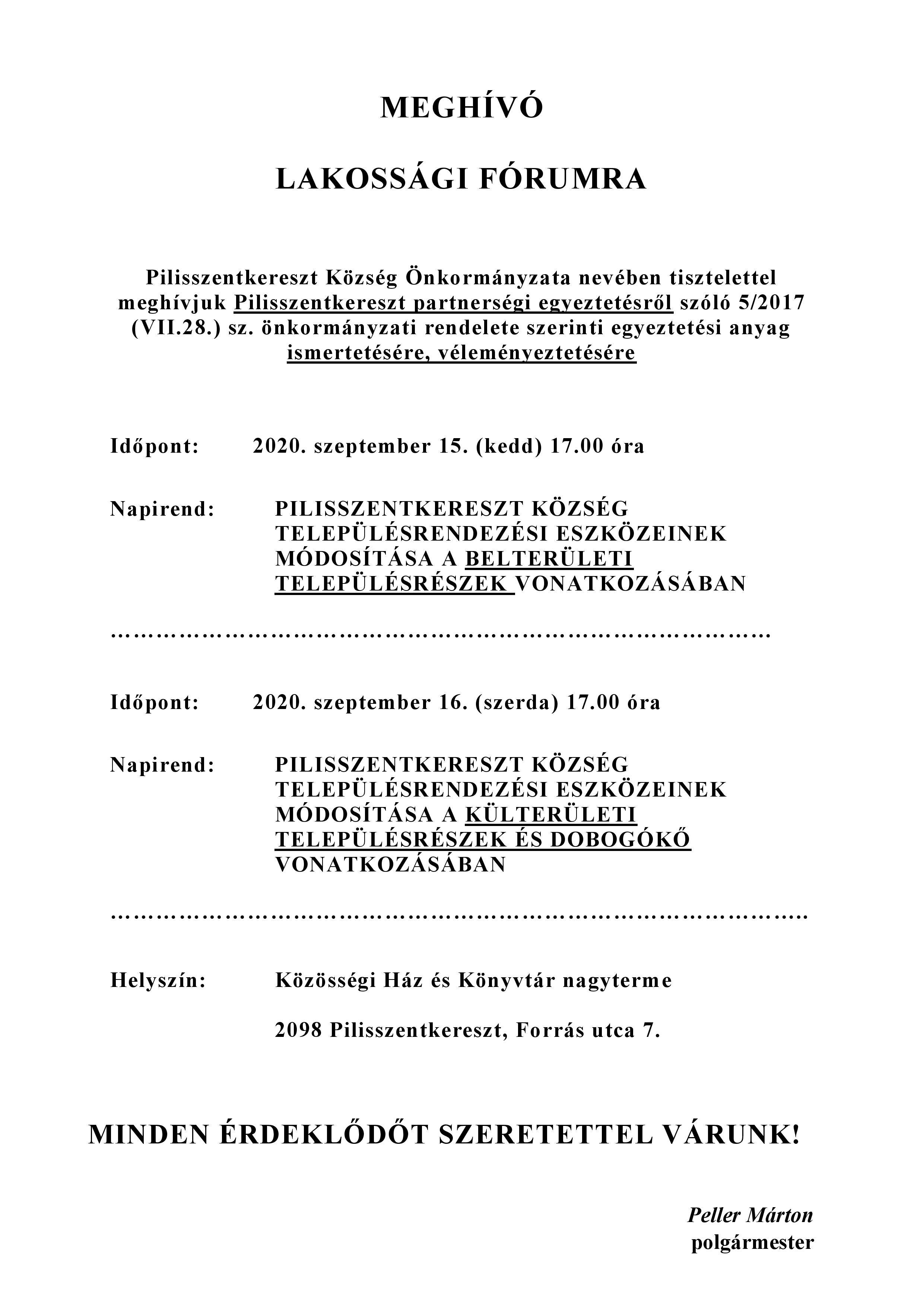 Meghívó lakossági fórumra 09.15.